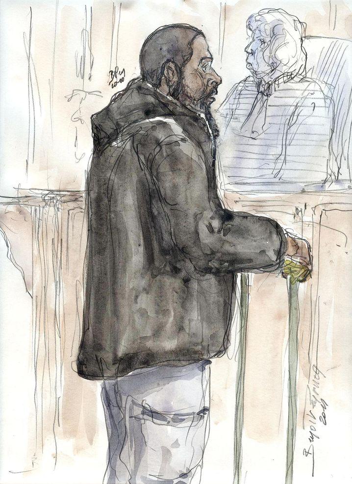 Cherif porträtiert vom Gerichtszeichner bei seinem Prozess in Frankreich, 2011