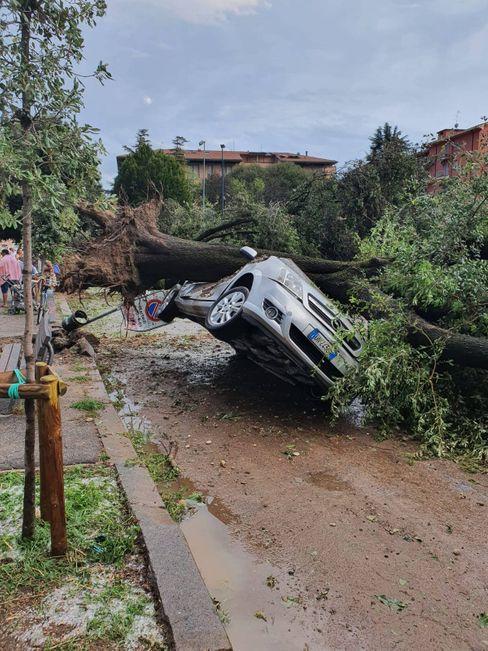 Ein zerstörtes Auto in Verona