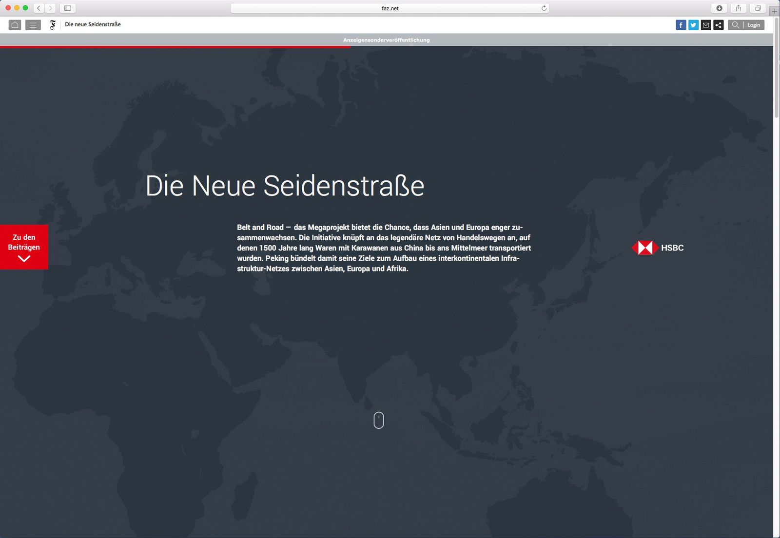 EINMALIGE VERWENDUNG SCREENSHOT/ China/ Seidenstrasse