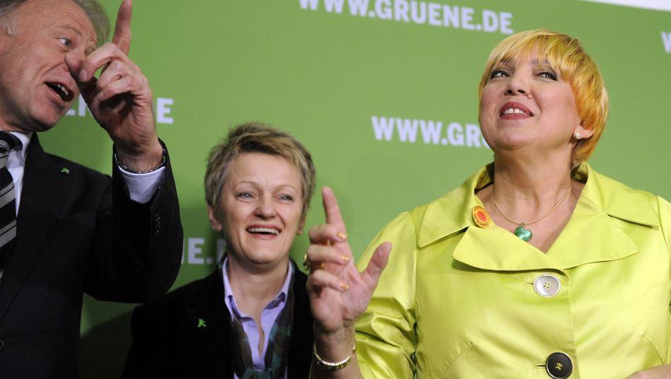 Haben derzeit allen Grund zum Jubel: Grünen-Spitzenpolitiker Trittin, Künast und Roth