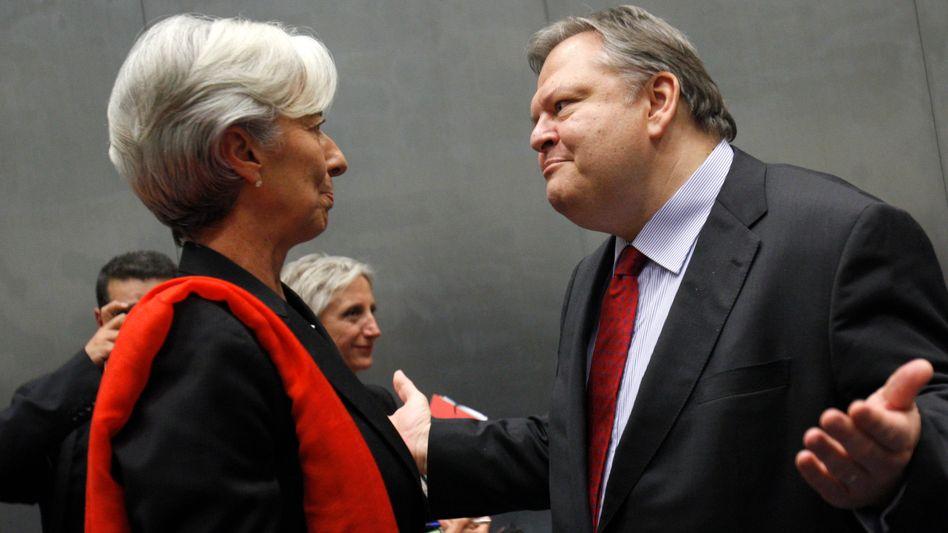 Frankreichs Ministerin Lagarde mit griechischem Amtskollegen Venizelos: Druck soll bleiben