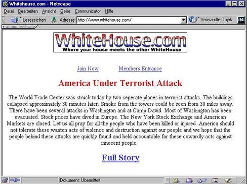 Whitehouse.com in Selbstzensur: Am 11.9. zeigte die notorische Pornoseite Pietät