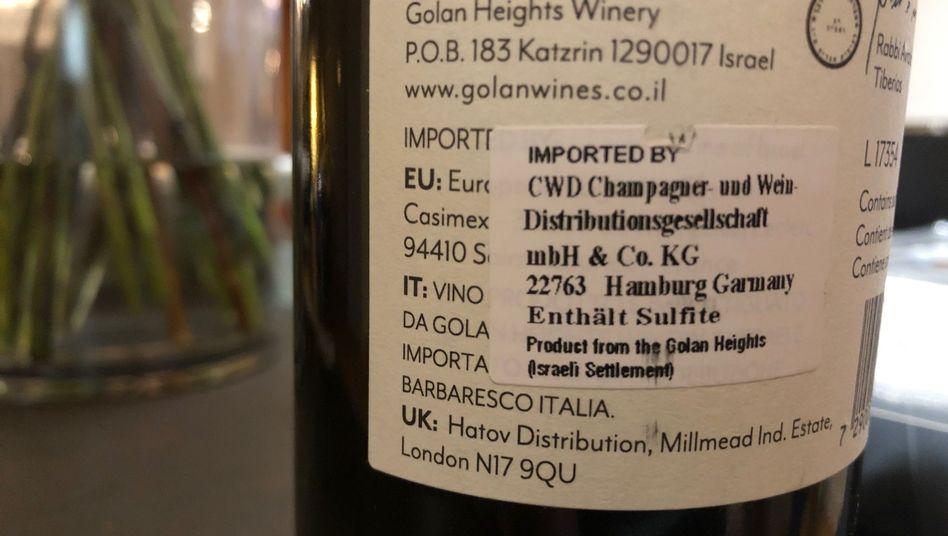 Wein aus israelischen Siedlungsgebieten beim Händler CWD: Kennzeichnung seit 2015