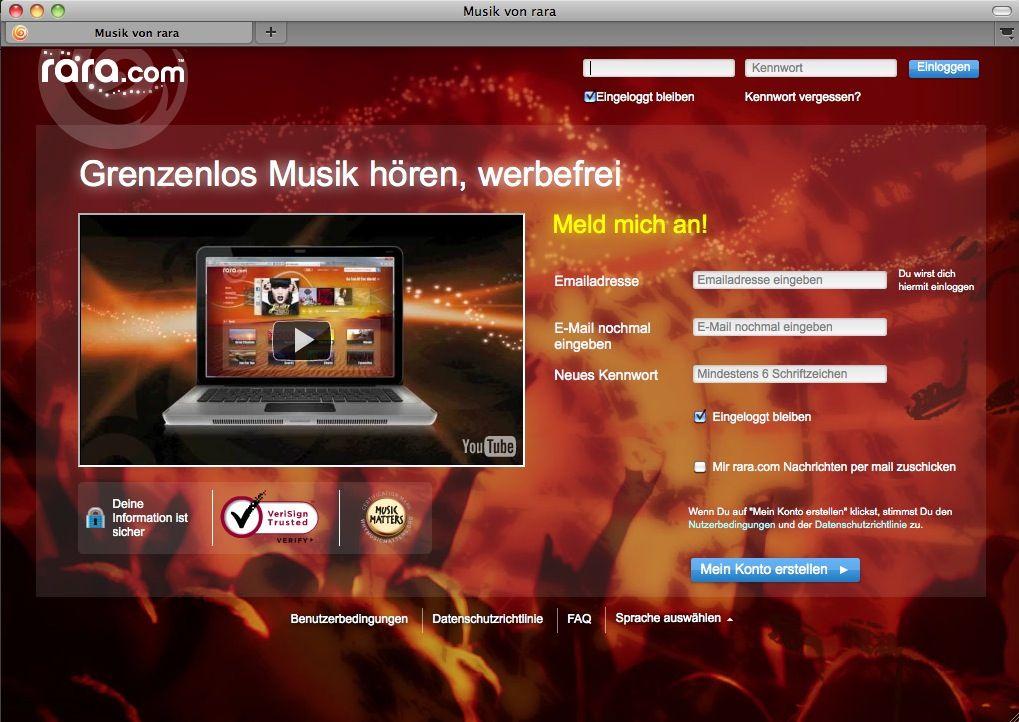 SCREENSHOT Rara / Musikportal