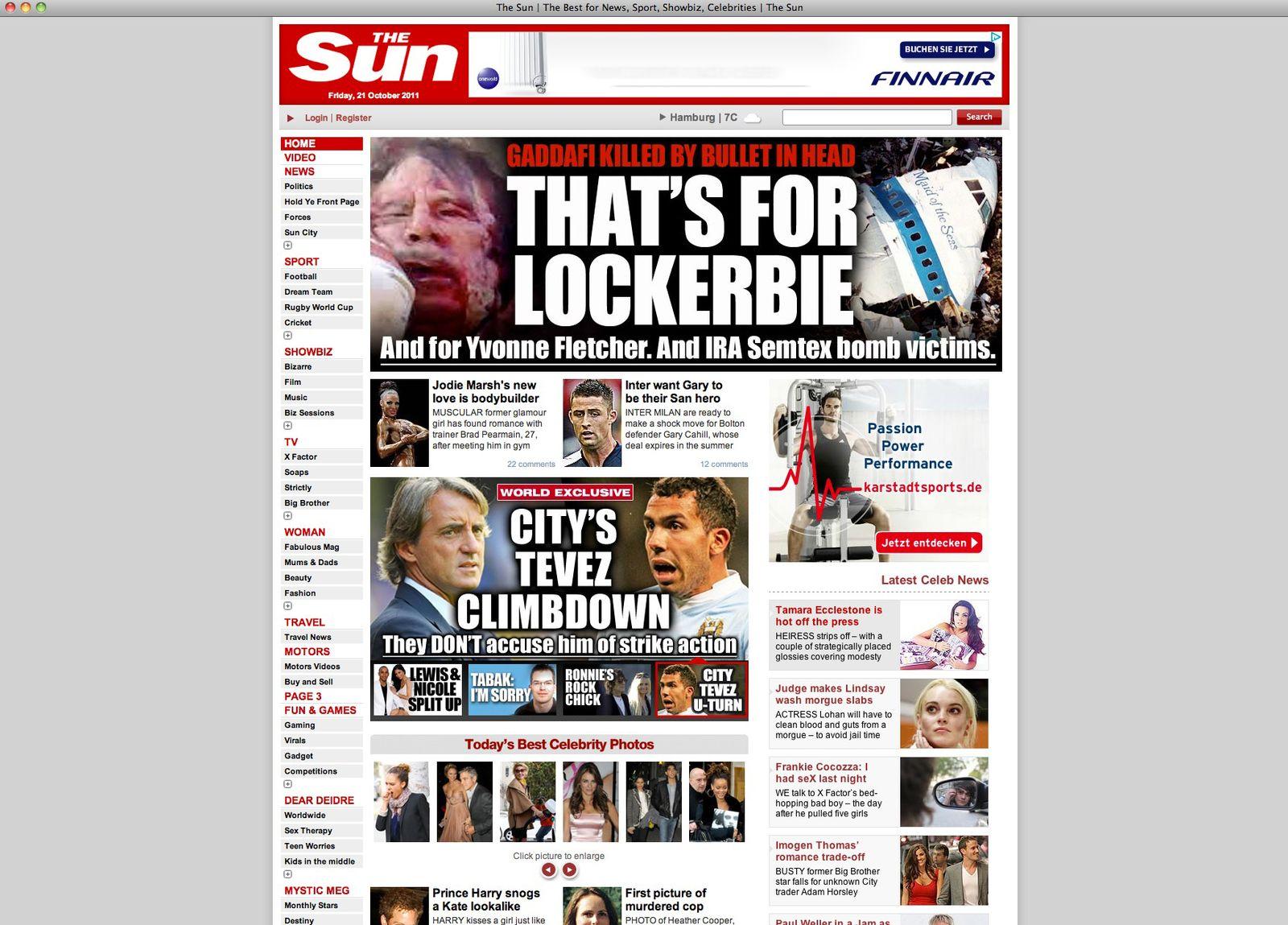 """NUR ALS ZITAT Screenhot sun.co.uk """"That's for Lockerbie"""""""