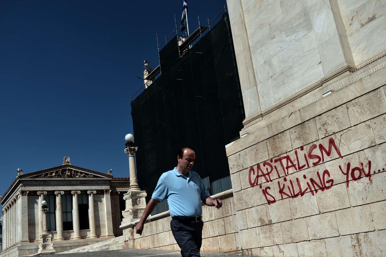 Protest-Graffito in Athen