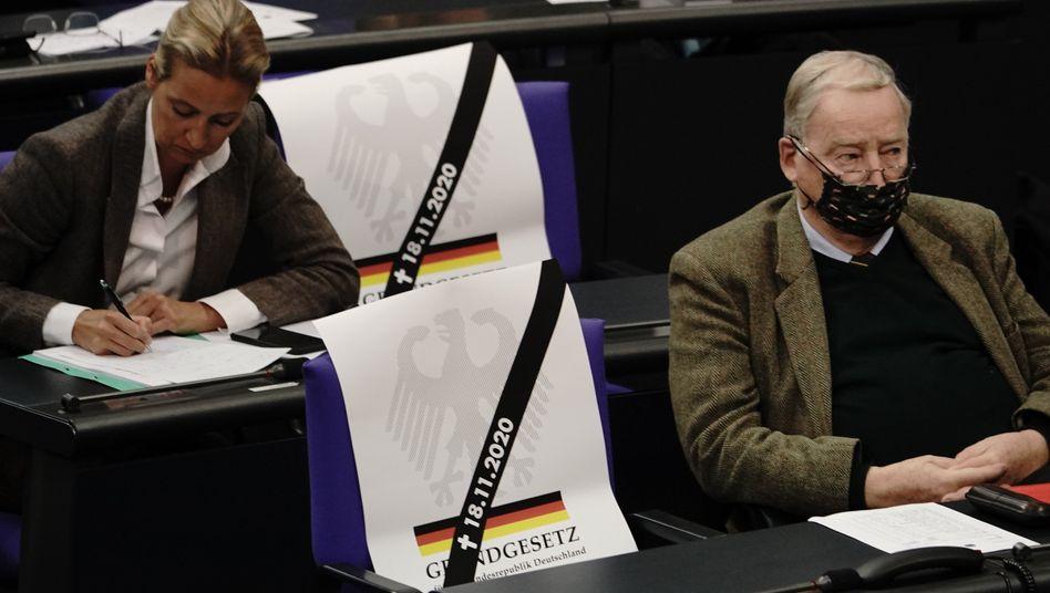 Alice Weidel und Alexander Gauland (beide AfD) mit Plakaten gegen das Infektionsschutzgesetz