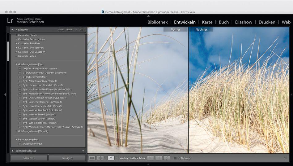 Lightroom wird mit zahlreichen Vorgaben ausgeliefert, mit denen Sie Ihren Bildern einen neuen Look geben können