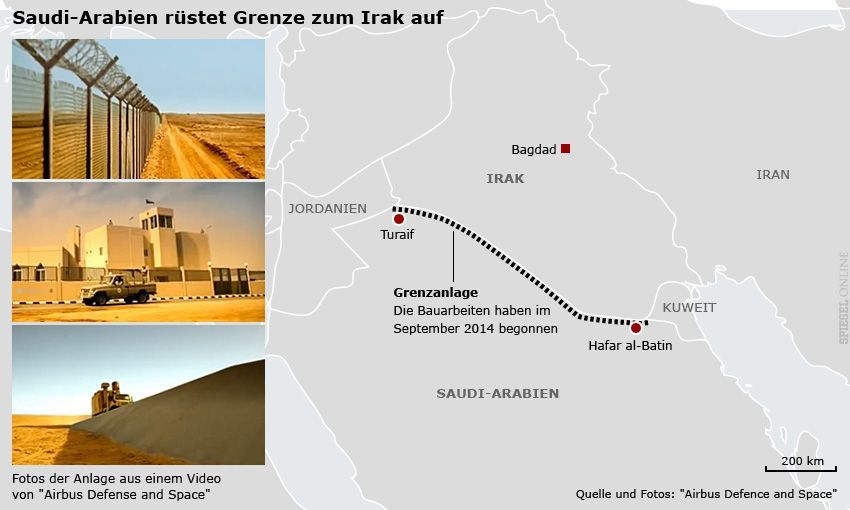 Karte - Grenze Saudi-Arabien Irak