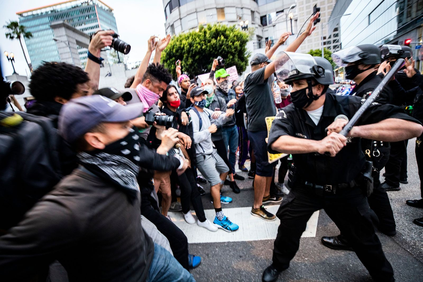Police abuse protest in wake of George Floyd death, in Los Angeles, USA - 29 May 2020