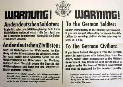 Aus dem Pößnecker Stadtarchiv: Amerikanische Warnung an die deutschen Soldaten