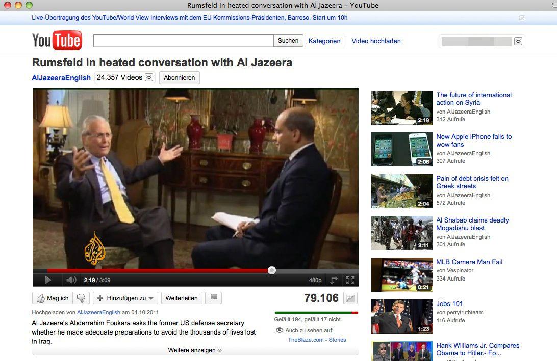 NUR ALS ZITAT Screenshot / Rumsfeld / Al Jazeera
