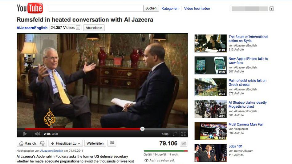 """Aufgeregter Rumsfeld auf al-Dschasira (Screenshot YouTube): """"Das hier ist sinnlos"""""""