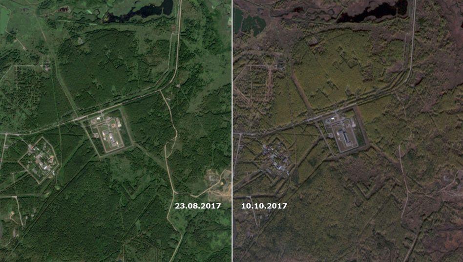 Veränderung am Dach der Atomfabrik Majak (links: 23. August 2017, rechts: 10. Oktober 2017)