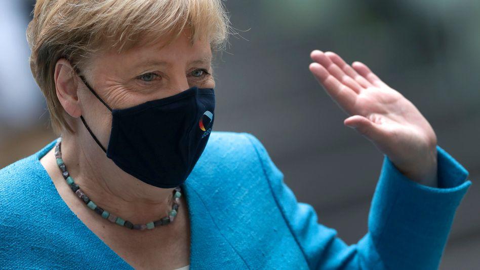 Bundeskanzlerin Angela Merkel (CDU) nach ihrer Sommerpressekonferenz, 28. August 2020