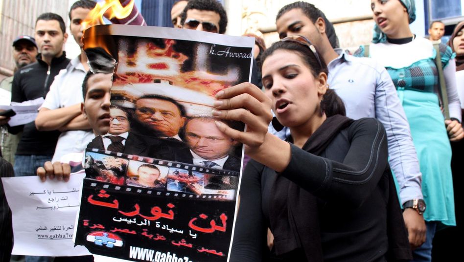 An opposition protest in Cairo during Egypt's parlimentary elections on Dec. 5, 2011