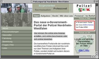 NRW-Polizei-Website: Drei Klicks bis zur rechtsgültigen Anzeige