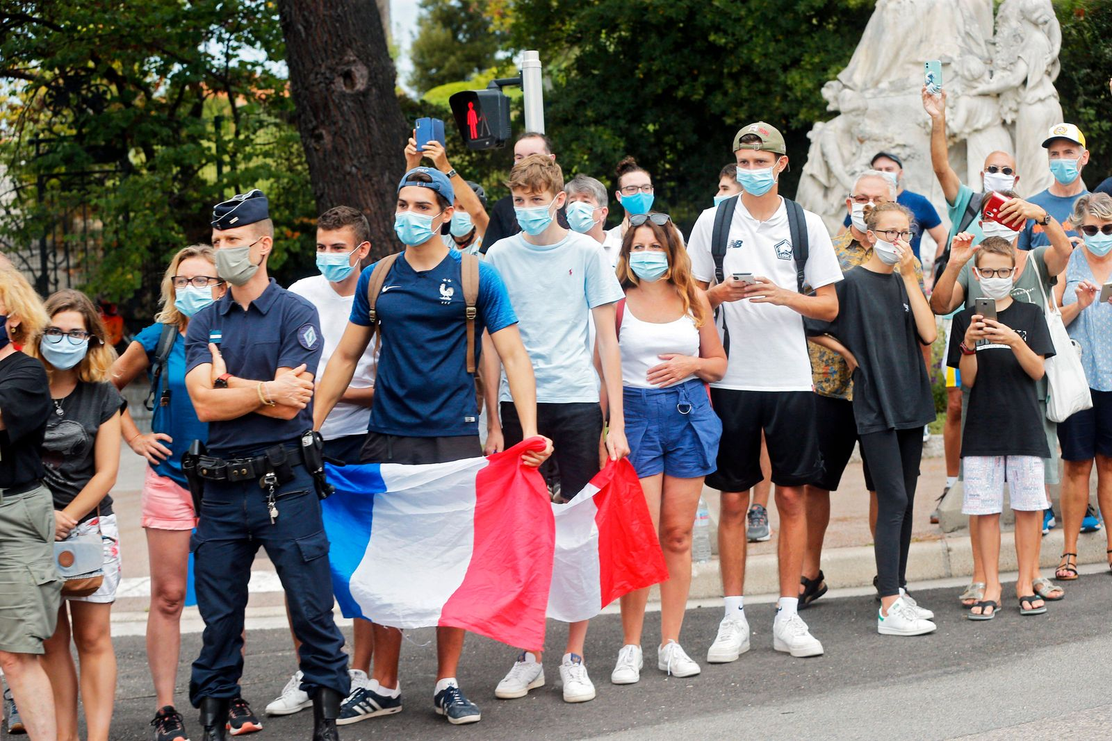 NICE, FRANCE - AUGUST 29 : Supporters and fans during stage 1 of the 107th edition of the 2020 Tour de France cycling r