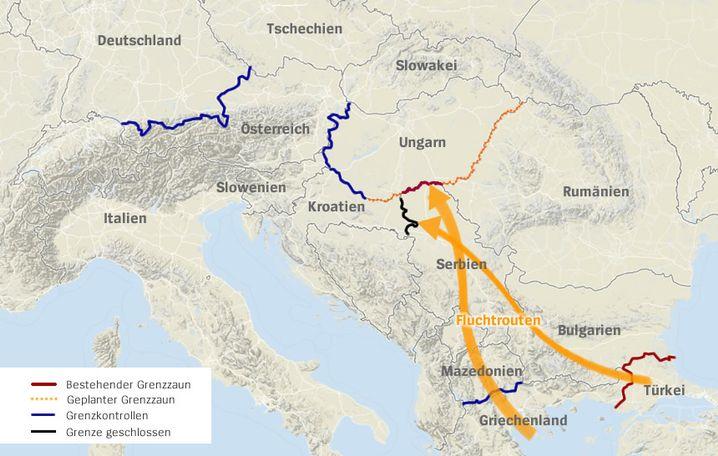 Fluchtrouten in Europa