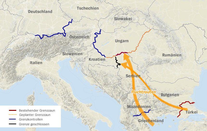 Karte Flucht Grenzen Zäune Sperrungen