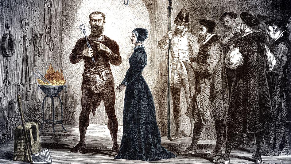 Familienangelegenheit: Der Wissenschaftler Johannes Kepler kämpfte darum, dass seine Mutter (neben Henker und Folterwerkzeugen) nicht hingerichtet wurde (späteres Fantasiebild)