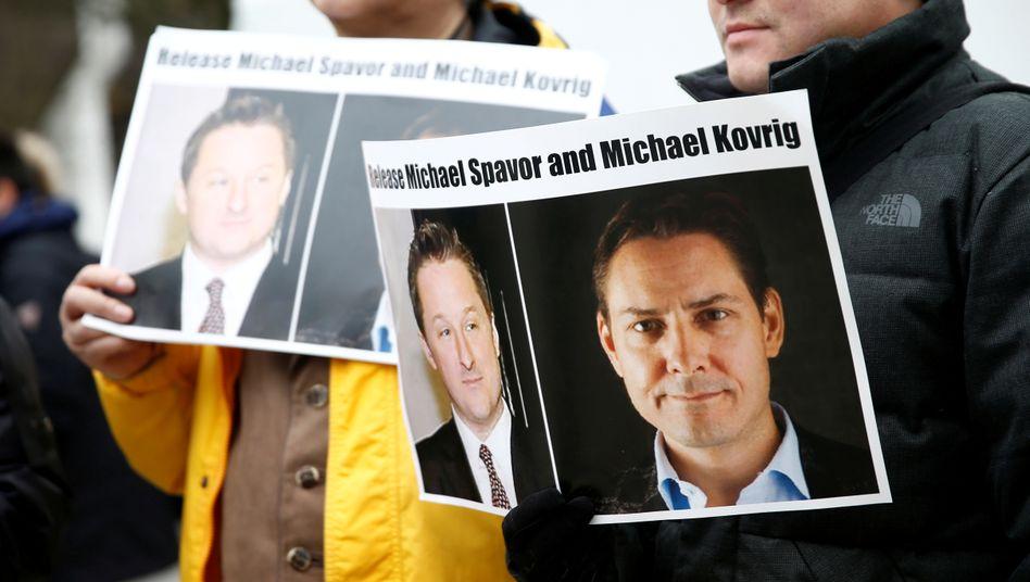 Demonstranten in Vancouver: Protest gegen die Inhaftierung von Michael Spavor und Michael Kovrig in China