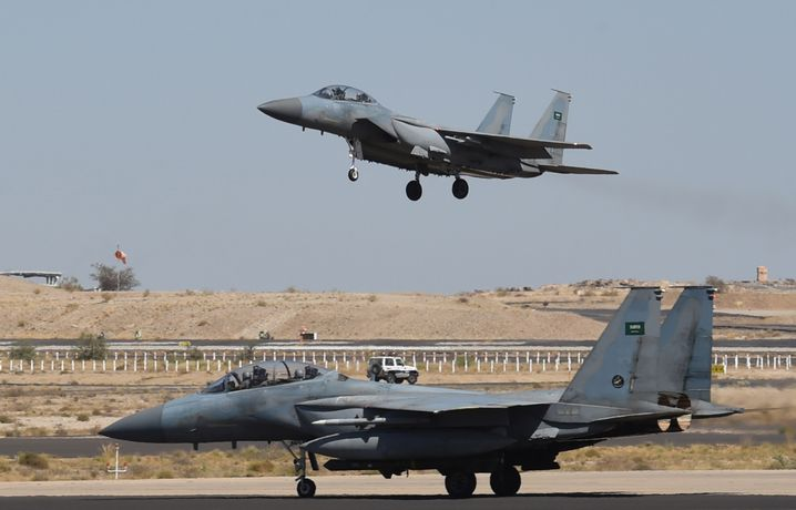 A Saudi F-15 fighter lands at the Khamis Mushayt military airbase, some 880 kilometers from the capital Riyadh, as the Saudi army conducts operations over Yemen.