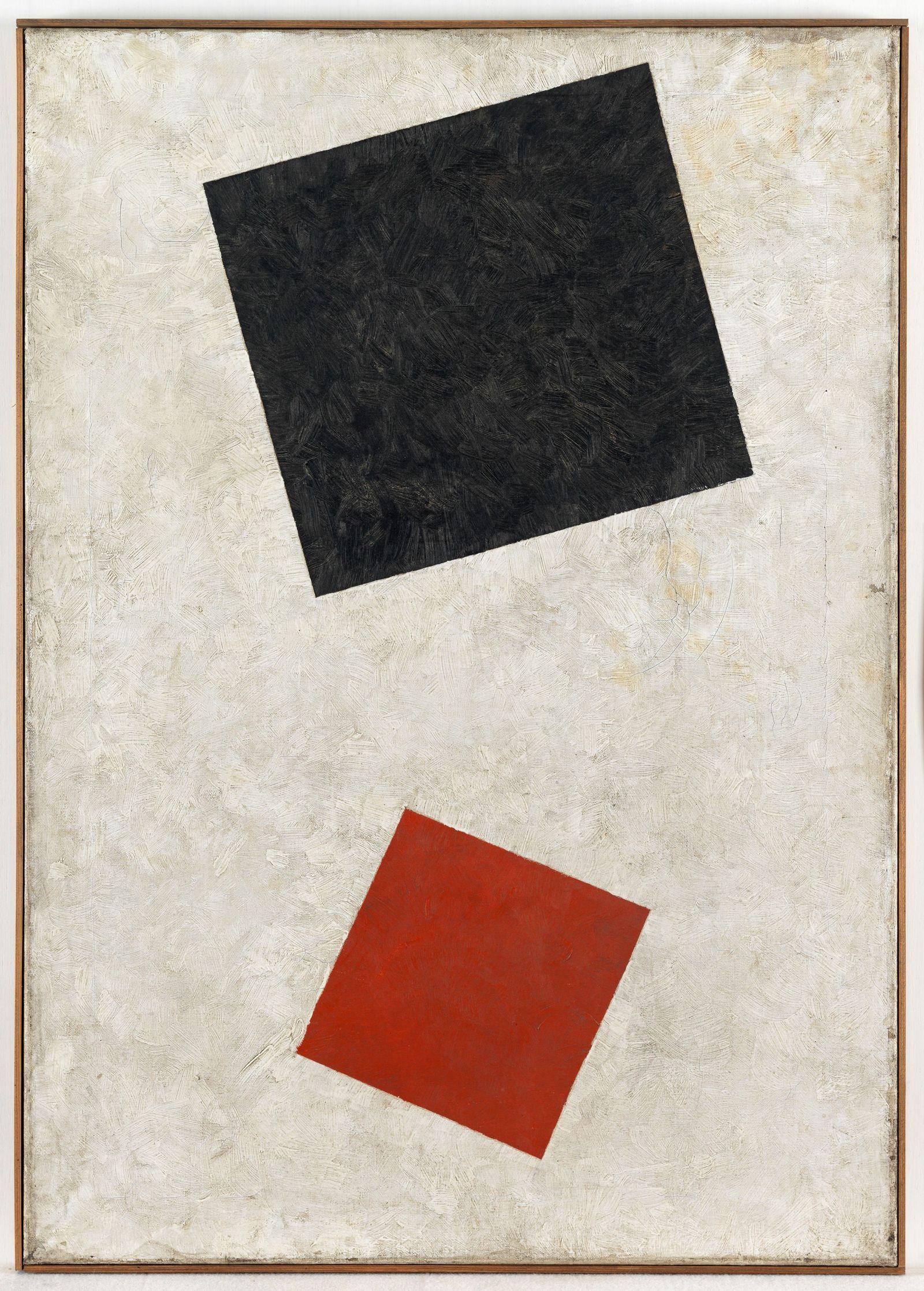 EINMALIGE VERWENDUNG Gemälde/ Fälschung/ Schwarzes Rechteck, rotes Quadrat