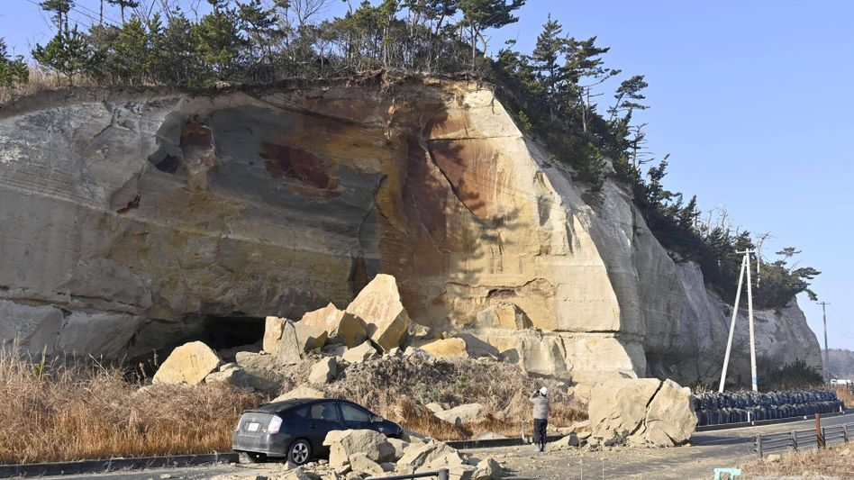 Felsabbruch nach dem Erdbeben in der Präfektur Fukushima