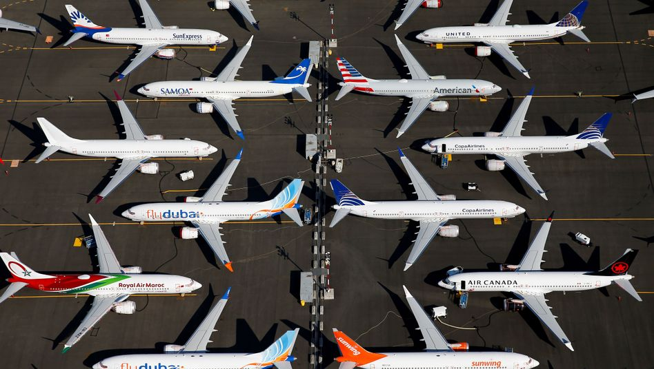 Grounded 737 Max jets at Boeing Field in Seattle