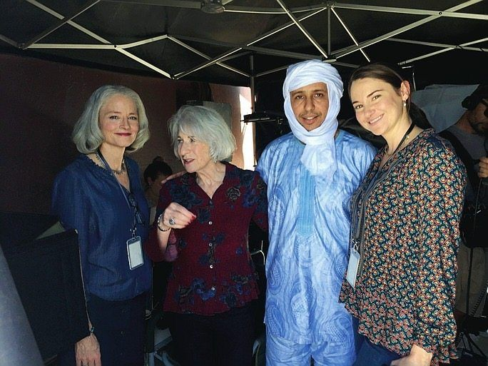 Former Guantanamo prisoner Mohamedou Slahi with actress Jodie Foster (left), Shailene Woodley (right) and lawyer Nancy Hollander in Cape Town.