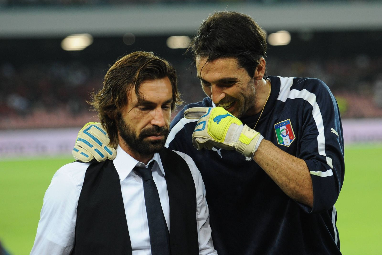 Oct. 15, 2013 - Andrea Pirlo and Gianluigi Buffon Talk before FIFA 2014 world cup qualifier between Italy and Armenia o
