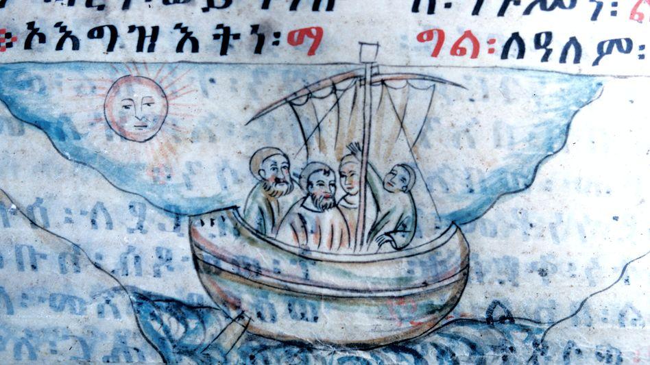 Die große Überfahrt: Illustration aus einer äthiopischen Handschrift um 1520