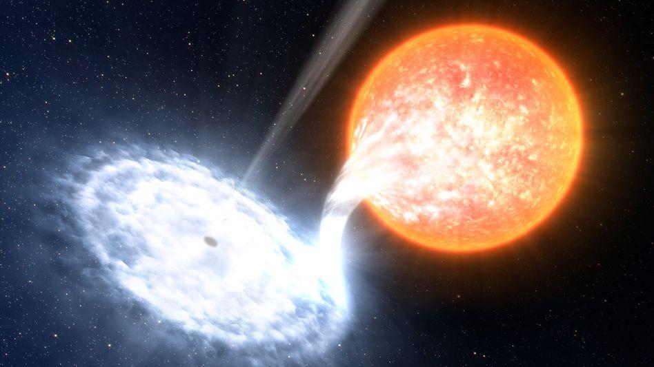 Doppelsternsystem mit Schwarzem Loch (künstlerische Darstellung): Signale aus der Frühzeit des Universums