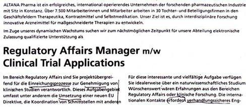 """Komplizierte englische Berufsbezeichnung: Anzeige von ALTANA Pharma, """"Frankfurter Allgemeine Zeitung"""", 8.11.2003"""