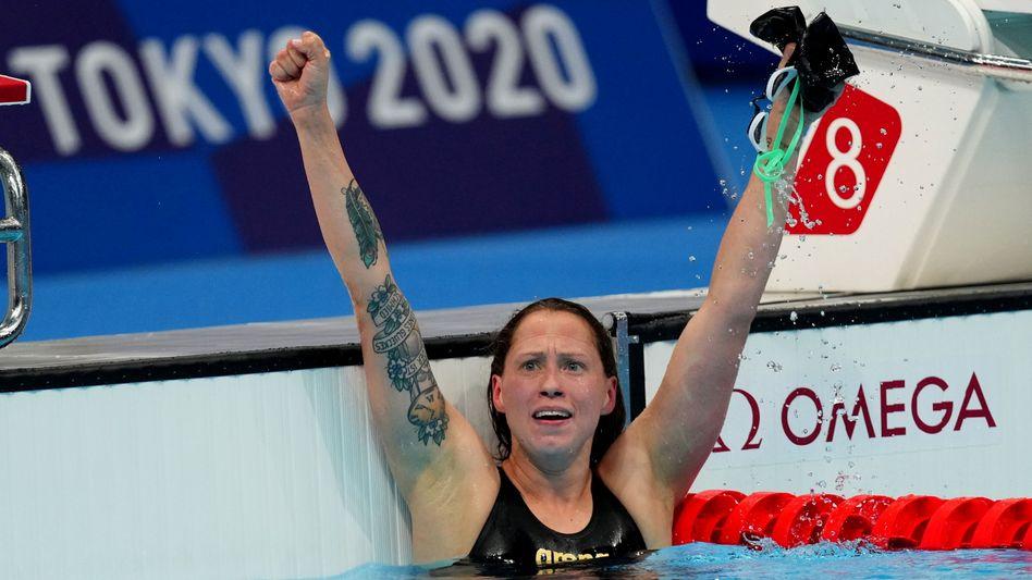 Die deutsche Schwimmerin Sarah Köhler feiert Bronze in Tokio