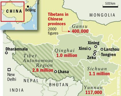 Map: Tibetans in Chinese provinces
