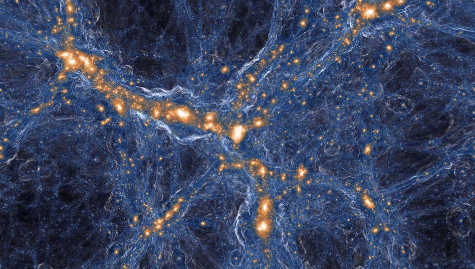 Weltall-Simulation: Gaswolken (blau) verbinden Galaxien (orange), dazwischen liegen uralte Gaswolken