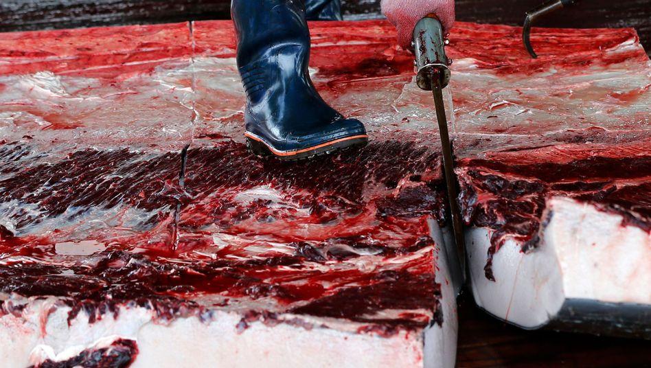 Verarbeitung von Walfleisch in Tokio (Archivbild)
