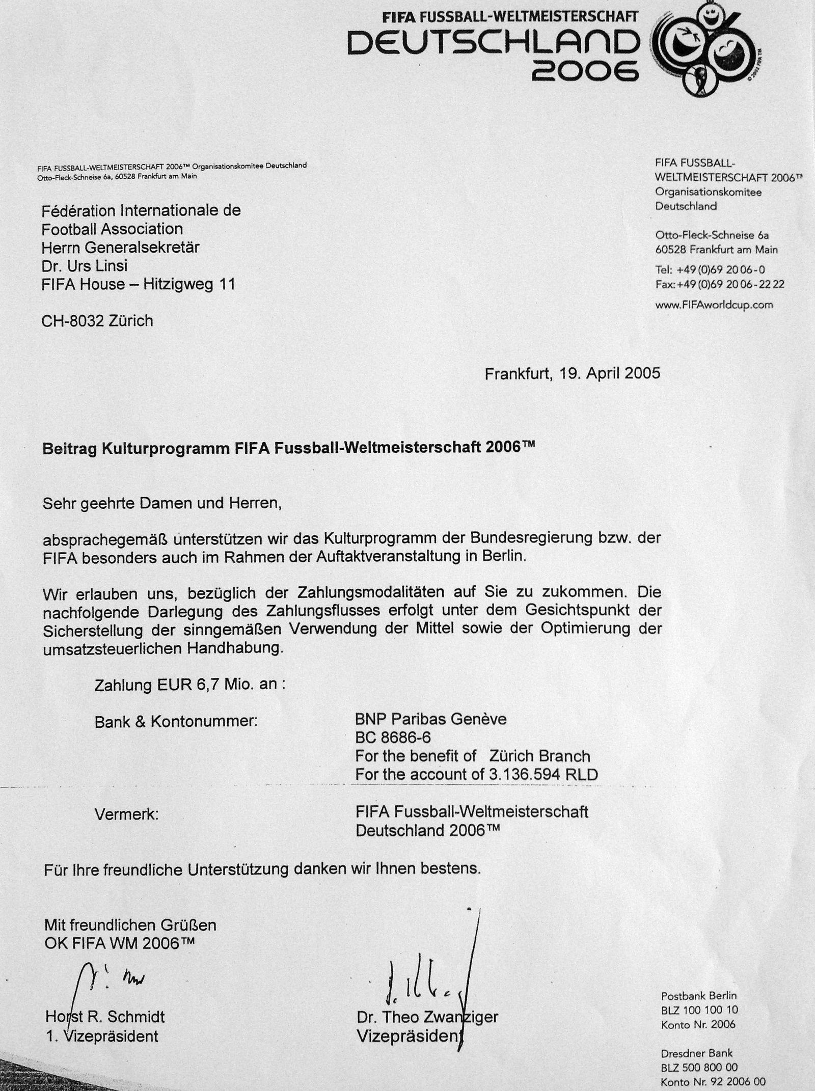 EINMALIGE VERWENDUNG Zahlung OK WM 2006/ FIFA/