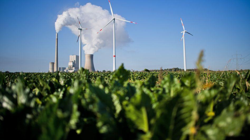 Kohlekraftwerk und Windräder in Niedersachsen