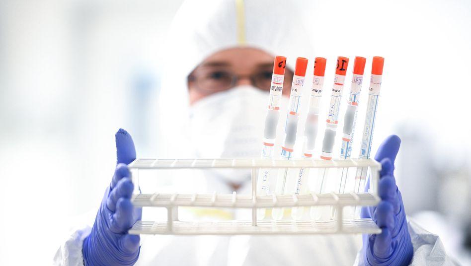 """""""Leider nicht alle Vorschläge aus den Gesprächen aufgenommen"""": Mitarbeiter eines Labors mit Rachenabstrichröhrchen im März 2020"""