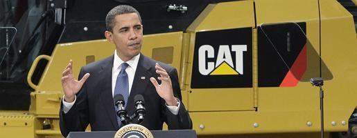 US-Präsident Obama (bei der Rede in Caterpillar-Fabrik in Illinois): Wenn die Regierung in Sachen Wirtschaft an die Öffentlichkeit tritt, rutschen die Indizes weiter ab