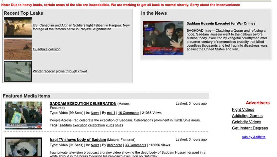 LiveLeak im Dezember 2006: Damals dreht sich auf der Homepage von LiveLeak alles um die Hinrichtung des irakischen Diktators Saddam Hussein