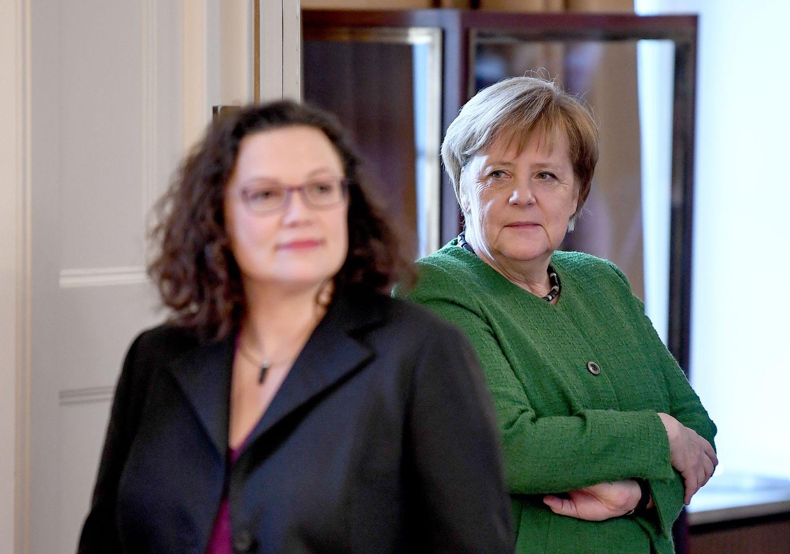 EINMALIGE VERWENDUNG Neujahrsempfang/ Bundespräsident/ Nahles/ Merkel