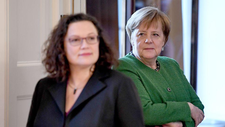 Kanzlerin Angela Merkel, SPD-Chefin Andrea Nahles (Archivbild)