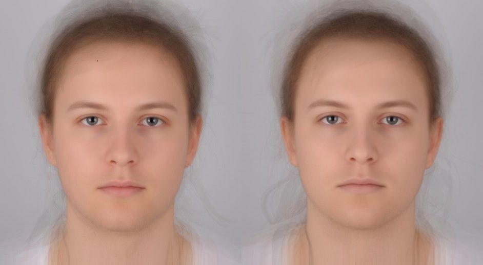 Die Illustration zeigt grafisch übereinandergelegt Porträts der Teilnehmer, die mit Placebo (links) oder mit E. coli-Bakterien behandelt wurden