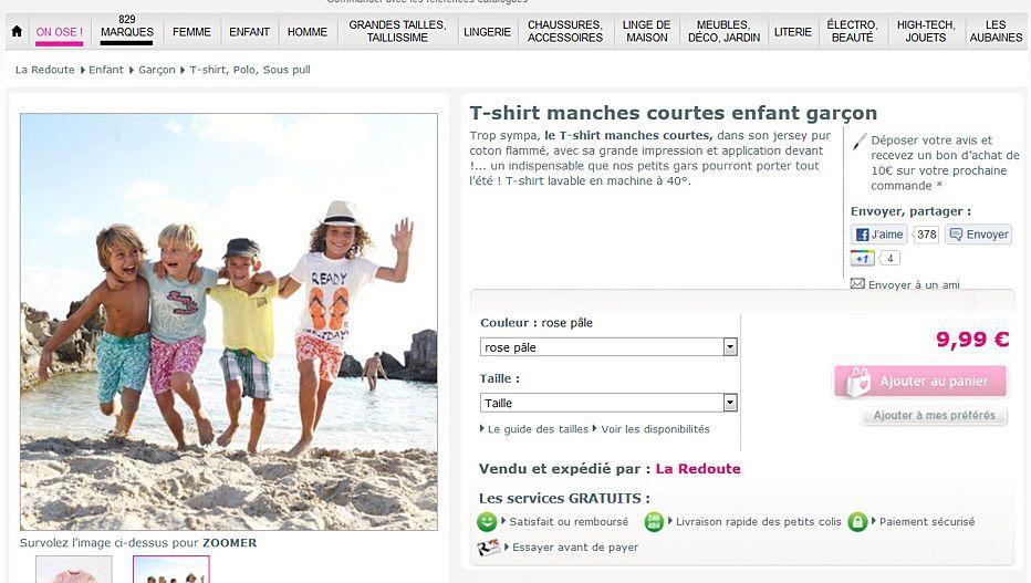 Screenshot der La-Redoute-Seite: Nackedei ist im Preis nicht inbgriffen