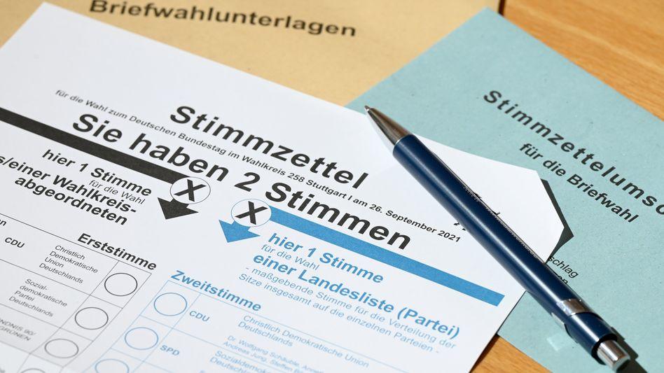 Stimmzettel für die Briefwahl 2021