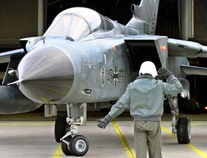 The German Luftwaffe's Tornado fighter is equipped with cameras and on-board cannons.
